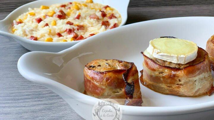 Lombinhos de Porco com Bacon e Queijo Chévre